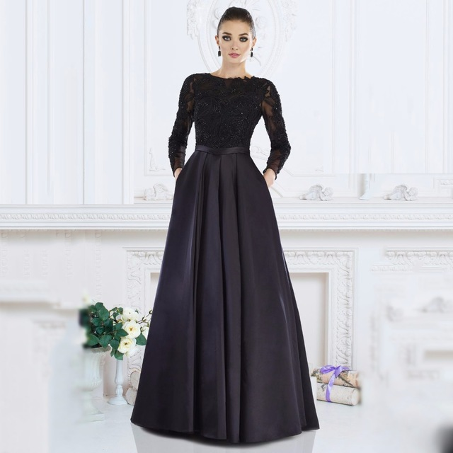 2017 Black With Pockets A-Line   Evening     dresses   Plus Size Long Sleeve Beaded Prom   Dress   Vestido de noche Robe de soiree longue