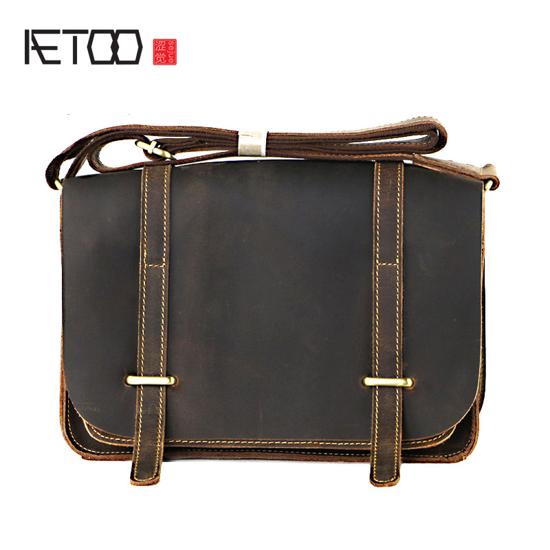 AETOO First layer of leather men's shoulder Messenger bag leather men bag crazy horse skin business casual bag aetoo leather men s first layer of leather men s messenger bag shoulder bag korean new casual vertical section across the packag