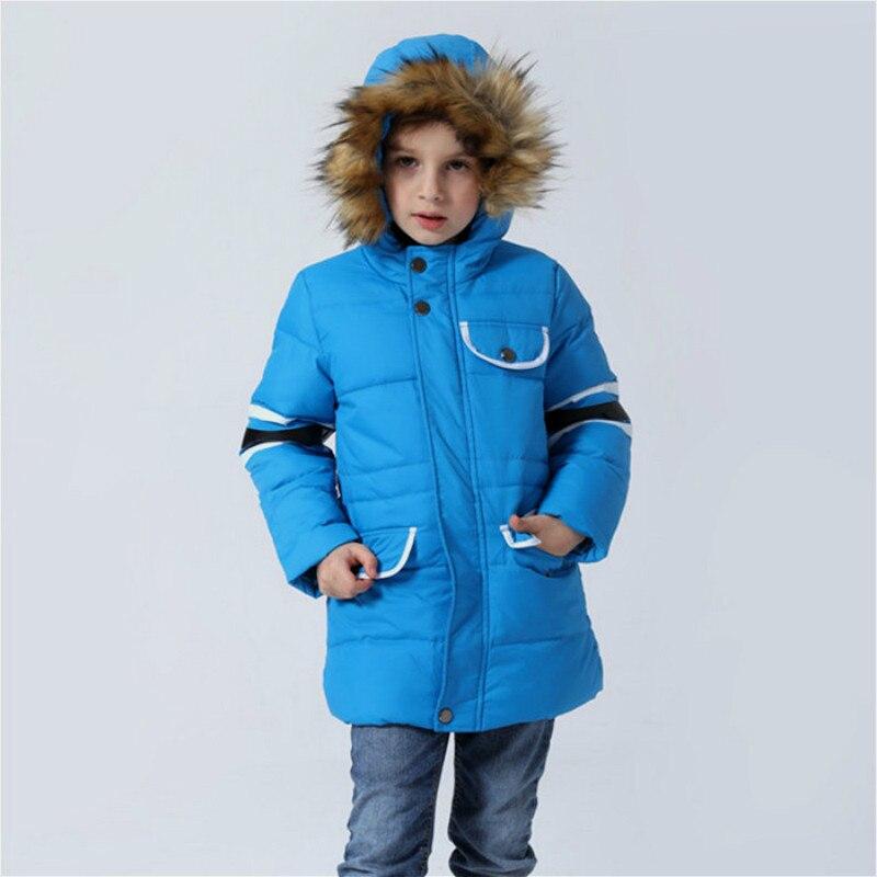 2016 Kış Yeni Stil Çocuklar Aşağı Palto Kalınlaşma Sıcak Erkek uzun Ceket Kızlar Kapşonlu Coat ile Kürk Yaka Bebek Çocuk palto
