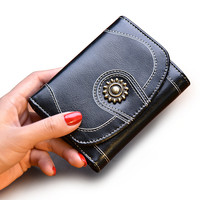 Women Purse Fashion Retro Female Short Wallets Genuine Leather Fold Small Wallet Mini Zipper 14P20