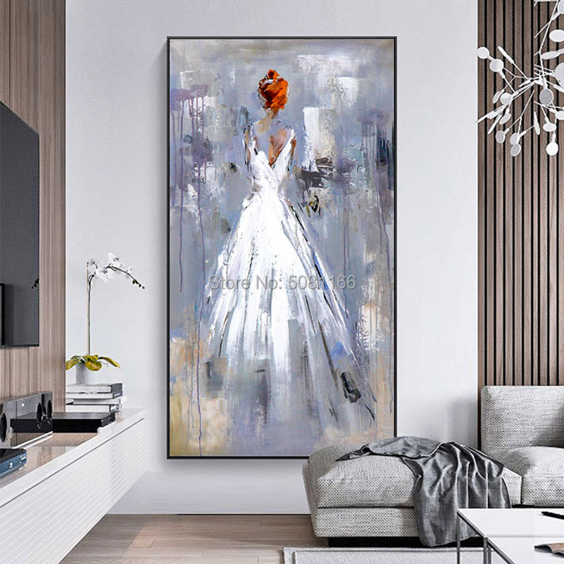 Hand Painted Wall Pictures purple woman Oil Painting On Canvas Abstract Elegant girl Painting Modern Home Sitting Room Corridor in Painting Calligraphy from Home Garden