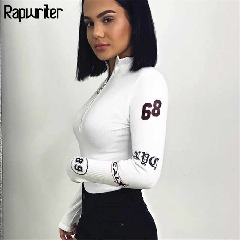 Rapwriter Sexy Coltrui Lange Mouw Ring Rits Bodysuit Vrouwen 2020 Fall Winter Bodycon Skinny Gedrukt Sheer Wit Bodysuit