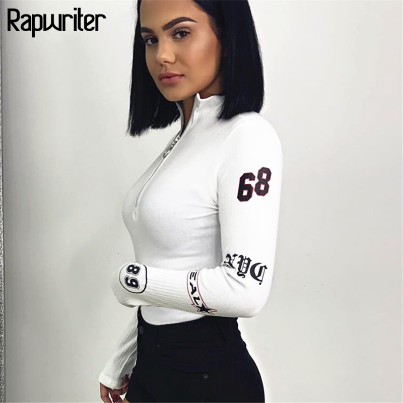 Rapwriter Sexy Turtleneck Long Sleeve Ring Zipper Bodysuit Women 2018 Fall Winter Bodycon Skinny Printed Sheer White Bodysuit