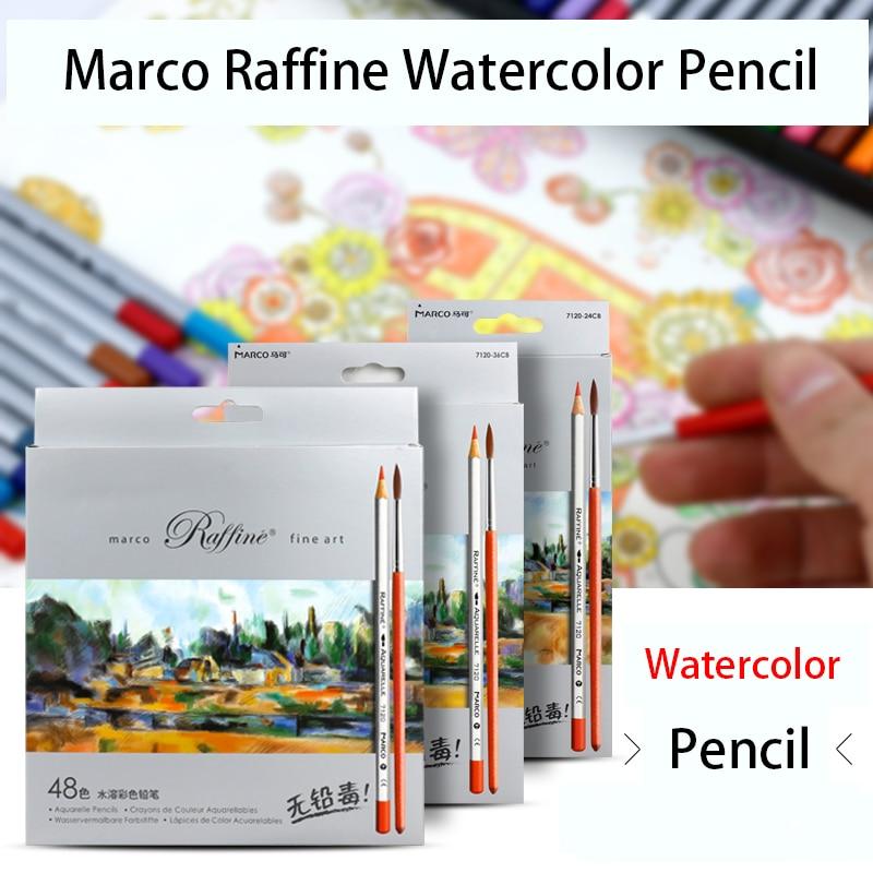 Marco Raffine Fine Art 24/36/48/72 Watercolor Pencil Drawing Sketches Mitsubishi Water-Soluble Secret Garde Color Pencil School cute lovely color pencil drawing tutorial art book