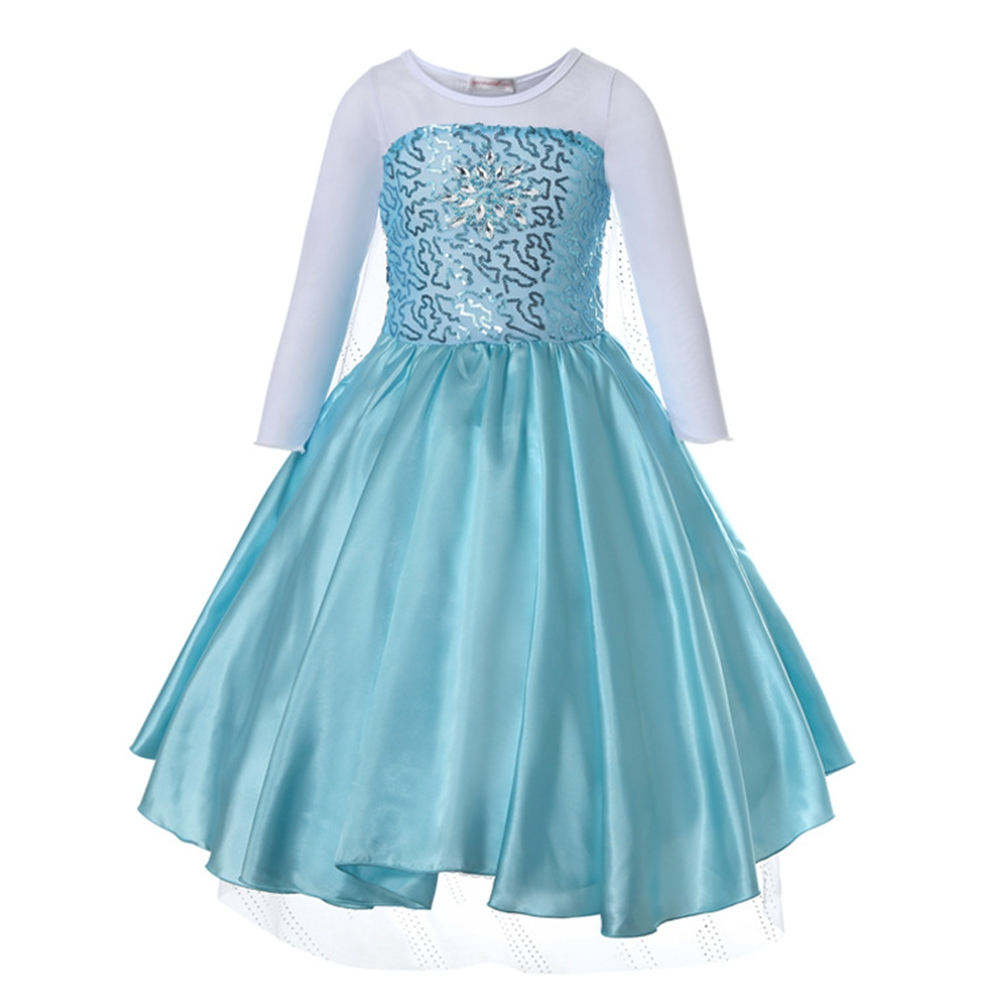 FindPitaya Winter Romance Long Sleeve Hot Pearl Sequined Lace Snowflake Snow White Print Princess Dress Cosplay Costume