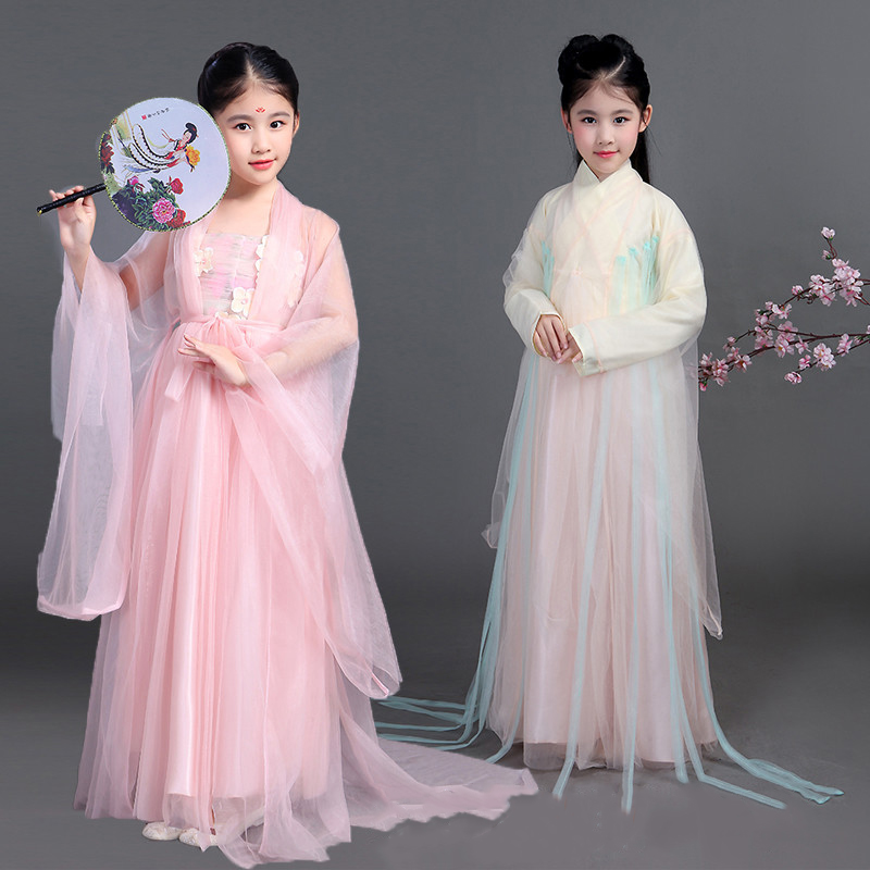 Children Chinese Traditional Hanfu Dress Girls Kids Ancient Chinese Folk Dance Costumes Woman Tang Fairy Dresses Clothing DN2122