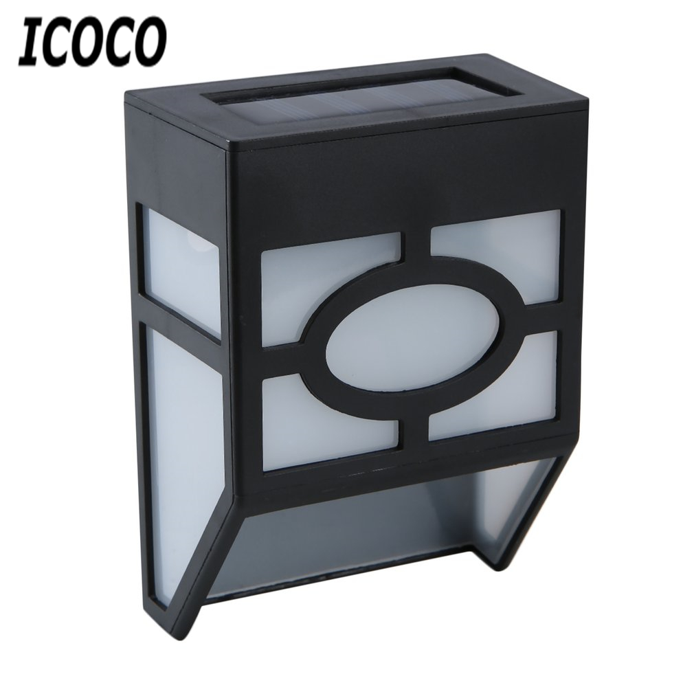 ICOCO Waterproof Solar Powered LED Wall Mount Light Low Power Consumption Super Bright Outdoor Garden Pathway Fence Light LampICOCO Waterproof Solar Powered LED Wall Mount Light Low Power Consumption Super Bright Outdoor Garden Pathway Fence Light Lamp