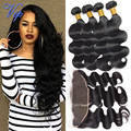 Mink Brazilian Virgin Hair Body Wave 13x4 Ear To Ear Lace Frontal Closure With Bundles Brazilian Body Wave With Lace Frontal 1B