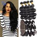 Mink Brazilian Virgin Hair Body Wave 13x4 Ear To Ear Lace Frontal Closure With Bundles Brazilian Body Wave With Lace Frontal 1B