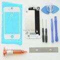 Branco 4g frente outer lens glass repair kits para iphone 4 caso porta da bateria da tampa traseira & uv glue & blade & ferramentas