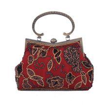 Casual Vintage Women Evening Clutch Beading Flower Bronze Metal Handle Handbag Fit Cheongsam Crystal Hasp Single Shoulder Strap