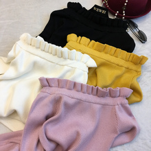 Winter 2017 stereo agaric elastic word shoulder sweater slim slim shirt all-match color sweater
