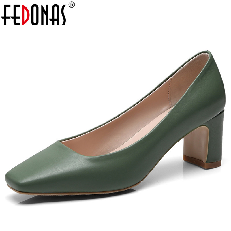 FEDONAS 2018 Genuine Leather Women Pumps High Heels New Shoes Woman Daily Shoes Office Pumps Elegant Square Toe New ShoesFEDONAS 2018 Genuine Leather Women Pumps High Heels New Shoes Woman Daily Shoes Office Pumps Elegant Square Toe New Shoes