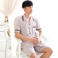 Men's Pajamas Summer Cotton Short-Sleeved+Pyjamas Trousers Men Turn Down Collar Pajama Sets Pijama Hombre Plus Size 059