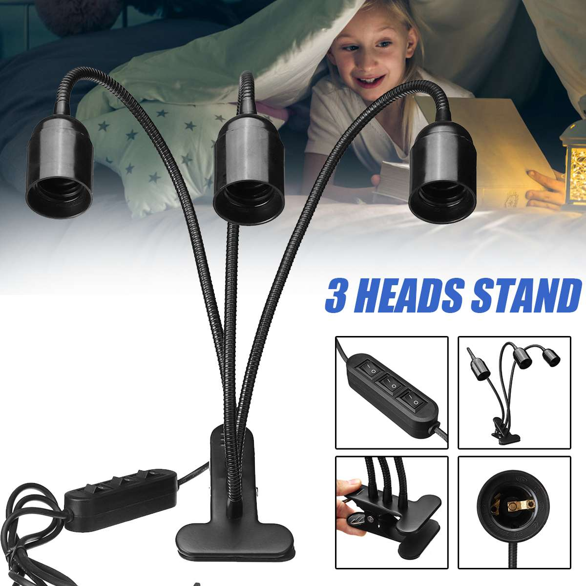 Flexibele Plantengroei Licht Base Stand 3 Heads Clip-On Bureaulamp E27 Lamp Standhouder Kids Studie Tafel lamp Aquarium Verlichting
