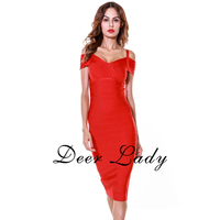Free Shipping Vestidos Bandage 2016 Red V Neck Cocktail Dress Bodycon For New Year Party HL