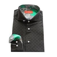black cotton blend with jacquard fainted circle pattern male casual fashion shirt,man's custom tailor made bespoke MTM dress sh
