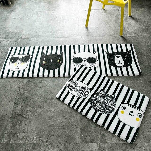 Soft Cartoon Adorable Pet Cats Flannel Carpet Absorbent Slip-resistant Vacuum Pad Kitchen Mat Door Bathroom Green Floor Mats
