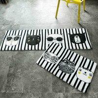 Soft Cartoon Adorable Pet Cats Flannel Carpet Absorbent Slip Resistant Vacuum Pad Kitchen Mat Door Bathroom