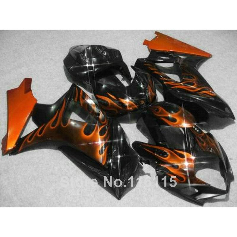 Motorcycle fairing kit for SUZUKI GSXR 1000 K7 K8 07 08 GSXR1000 2007 2008 brown flames in black ABS plastic fairings set JS42 motorcycle fairing kit for suzuki gsxr1000 07 08 gsxr 1000 k7 2007 2008 gsxr1000 abs white blue fairings set 7gifts ss01