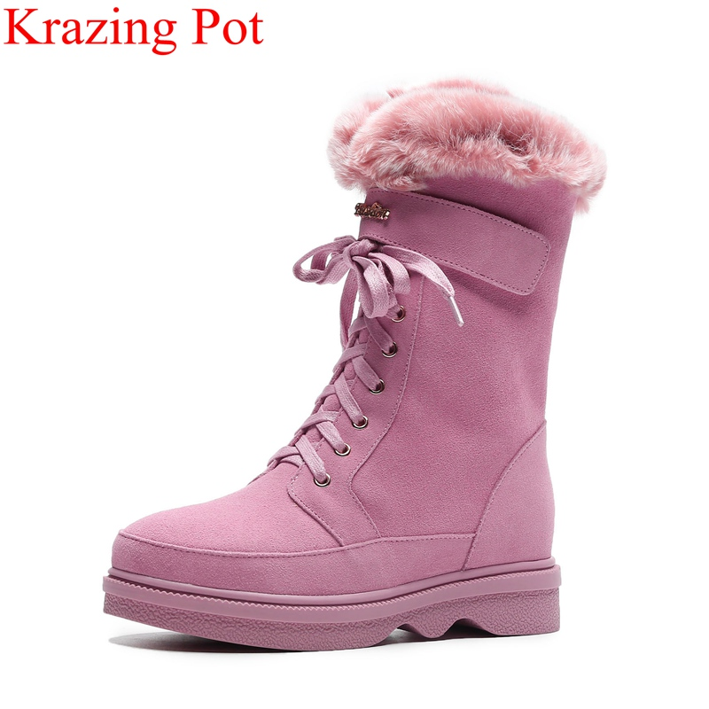 superstar big size keep warm zipper fur platform snow boots flat with pink color mujer mid-calf boots runway winter shoes L06 2018 superstar cow suede platform round toe high heels snow boots keep warm winter shoes wedge zipper women mid calf boots l95