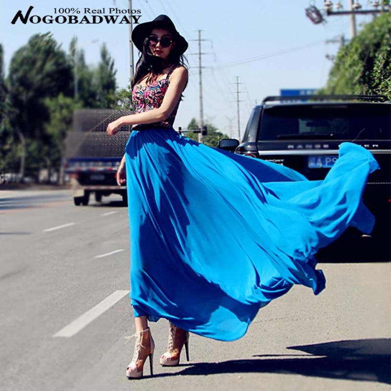 Plus size long skirt new fashion 2016 summer faldas chiffon maxi skirts womens floor-length jupe longue slim saia casual - Nogobadway store
