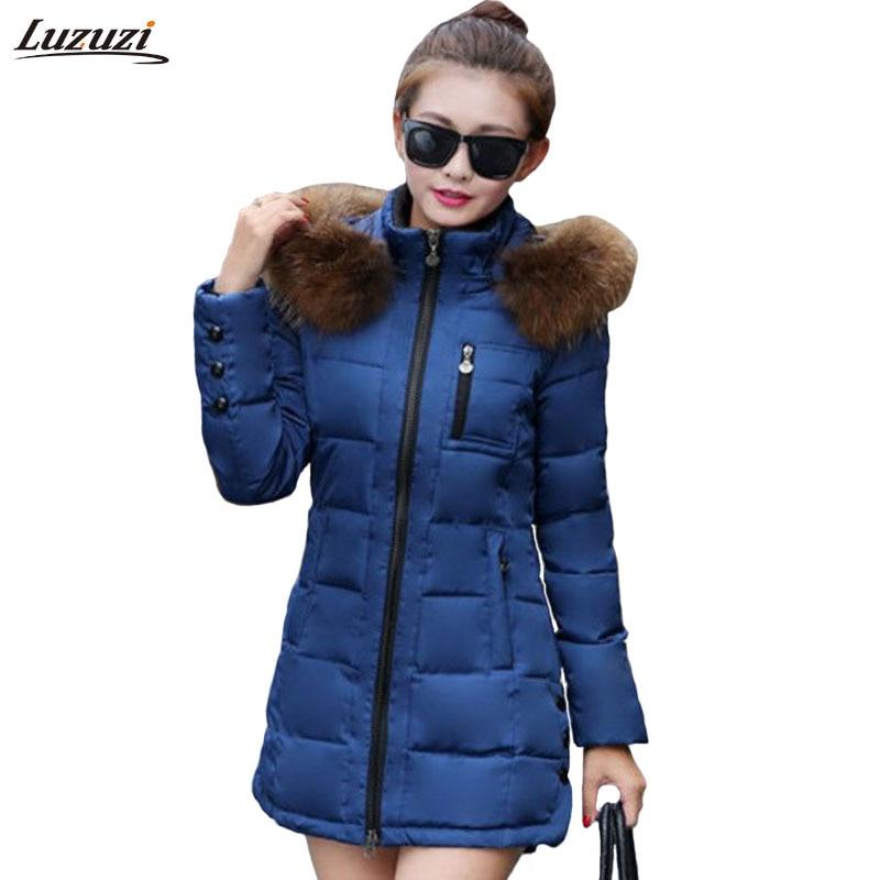 1PC Winter Jacket Women Fur Hooded Parka Thick Cotton Padded Winter Coat Women Jaqueta Feminina Inverno