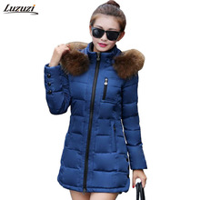 1PC Winter Jacket Women Fur Hooded Parka Thick Cotton Padded Winter Coat Women Jaqueta Feminina Inverno Chaqueta Mujer Z950