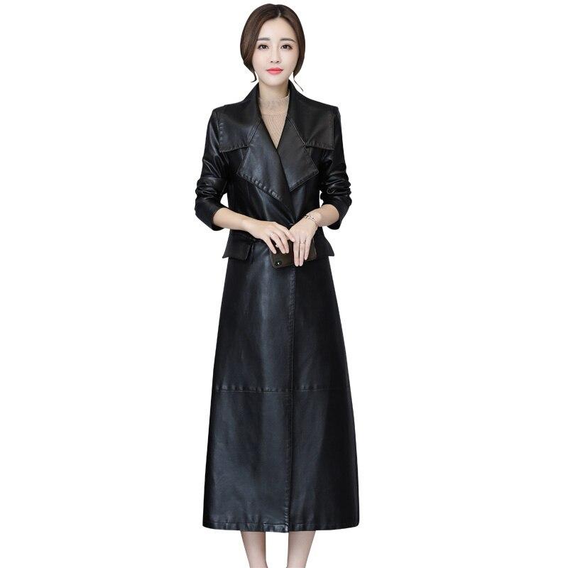 Women Black Soft Leather Jacket 2018 New Fashion Ladies Washed PU Leather Trench Long Coats Female Faux Leather Windbreaker 5XL