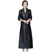 d03af9d362 Femmes noir en cuir souple veste 2018 nouvelle mode dames lavé PU cuir  Trench Long manteaux femme Faux cuir coupe-vent 5XL