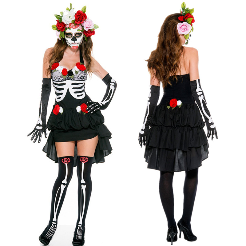 Adult Skeleton Day Of The Dead Costume Women S Sexy Sugar