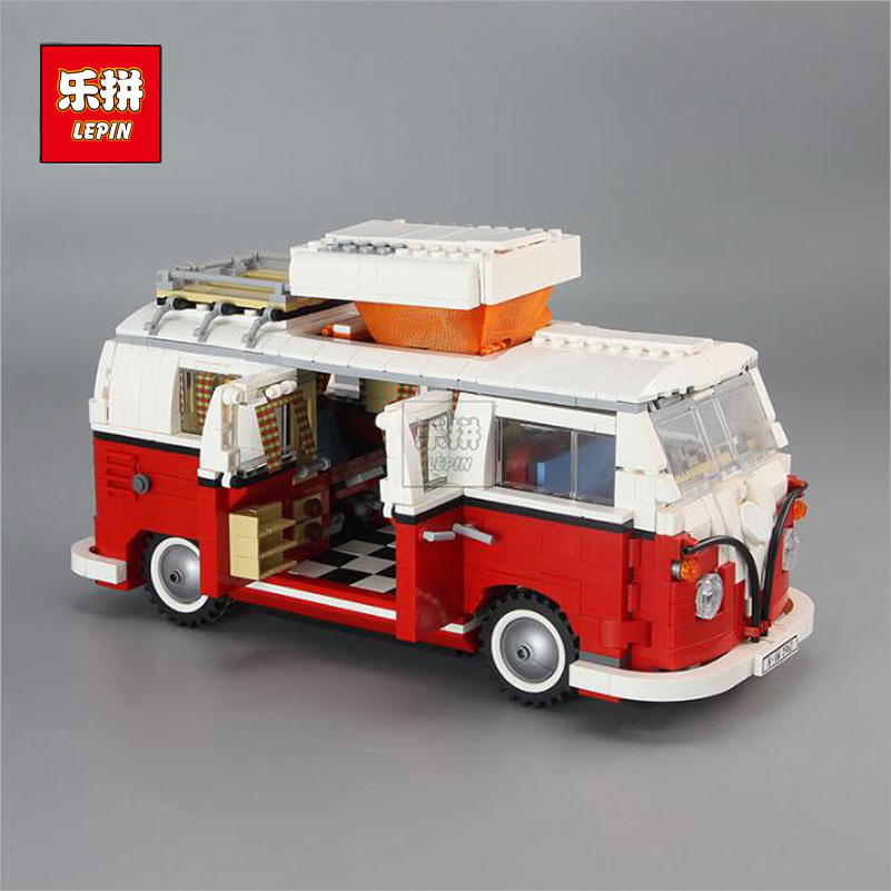 Classical T1 Camper Van Model Blocks Toys 1354pcs Brick Car Children Gifts Compatible Lepin Technic Series Building Blocks 21001 lepin 21001 creator volkswagen t1 camper van building block compatible legoe 1352pcs educational toys for children