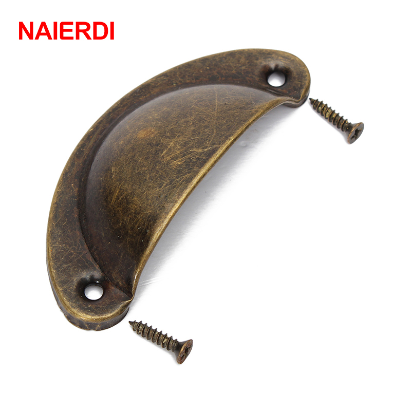 NAIERDI 2PCS Retro Metal Kitchen Drawer Cabinet Door Handle Furniture Knobs Hardware Cupboard Antique Brass Shell Pull Handles 100pcs metal kitchen drawer cabinet door handle furniture knobs hardware cupboard shell pull handles