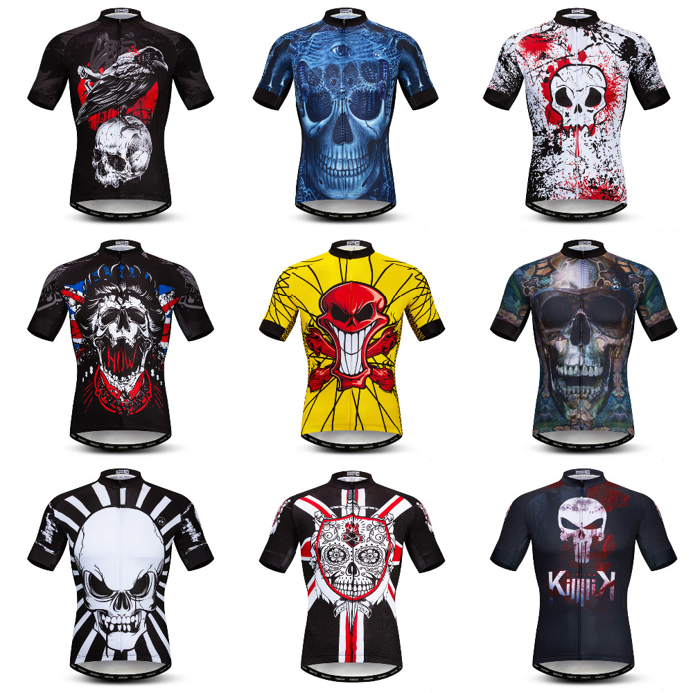 Weimostar Skull Mens Cycling jersey Team 100% Polyester Mountain Bike Jersey Quick Dry Cycling Shirt Road mtb Bicycle Clothing