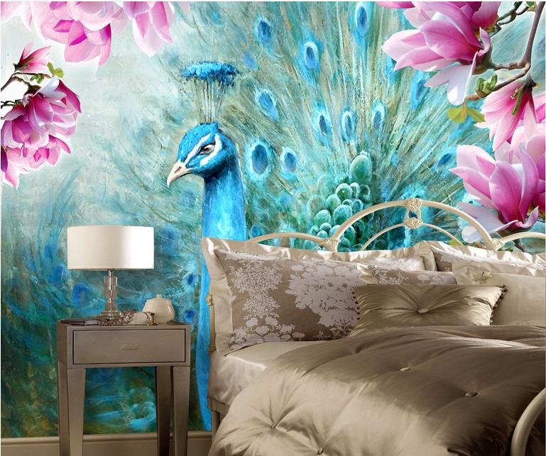 customize 3d luxury wallpaper Peacock Magnolia Hand Painted Oil Painting Background Wall wallpaper for walls 3 d photo