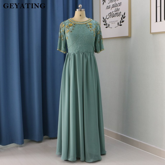 3b085aa7db12a Teal Chiffon Long Maternity Evening Dress 2018 Turkish Islamic Muslim Formal  Evening Gowns Party Prom Dresses for Pregnant Women
