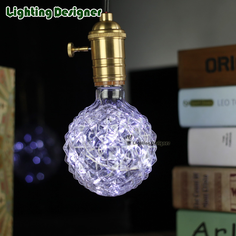 crystal G95 string lamp bulb 110v-240V 1.8W cool white pineapple glass decor bulb holiday fairy lights twinkle bulb скейтборд cool pineapple my area