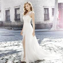 LORIE Sexy Wedding Dress Boho Side Split White Wedding Gown Appliques Lace One Shoulder Princess Bride