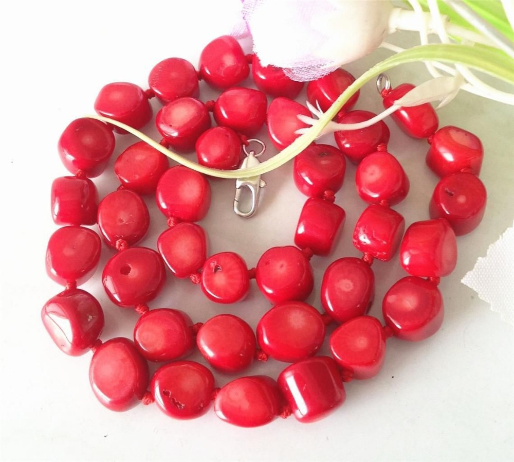 Accessory Crafts Parts Beads Semi Finished Stones Ball Gifts 10-15mm Red Sea Coral Stone Jewelry Necklace 19inch Fitting Female