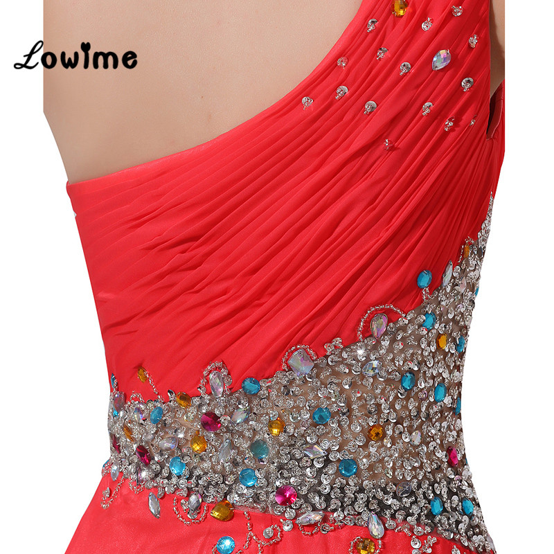 Sexy Muslim Long Red One Shoulder Prom Dress Chiffon Indian Prom ...