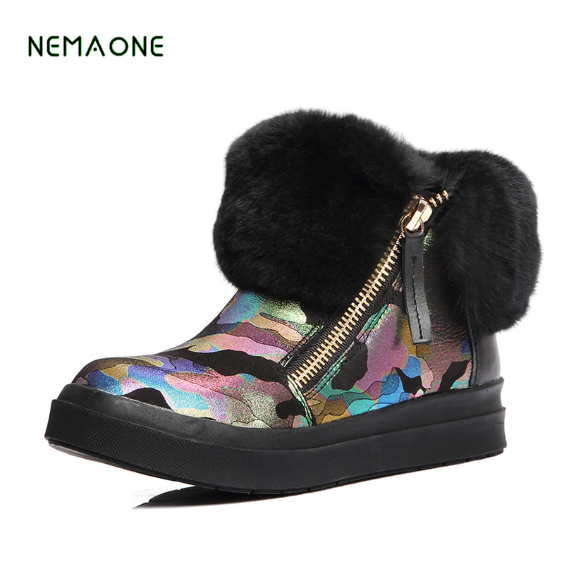 NEMAONE 2017 new Winter Platform Warm Snow Boots Flat Shoes Casual Women Shoes Winter Winter Fur Ankle Boots For Women zorssar 2017 new classic winter plush women boots suede ankle snow boots female warm fur women shoes wedges platform boots