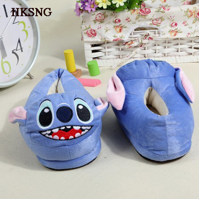 HKSNG Winter Animal Adult Blue Stitch Shark Panda Stitch Slippers Paw Pikachu Claw Indoor Floor Home Shoes Christmas Gift