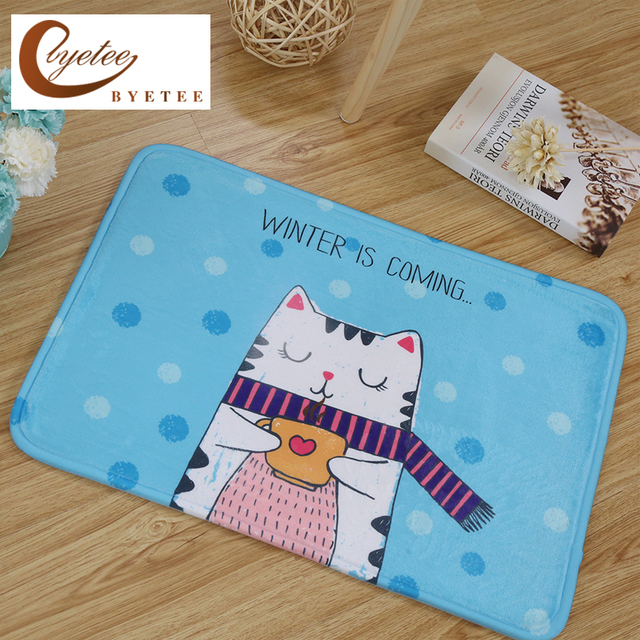 byetee printed flannel kitchen rugs floor mat living room mat anti skid mat - Floor Mats For Living Room