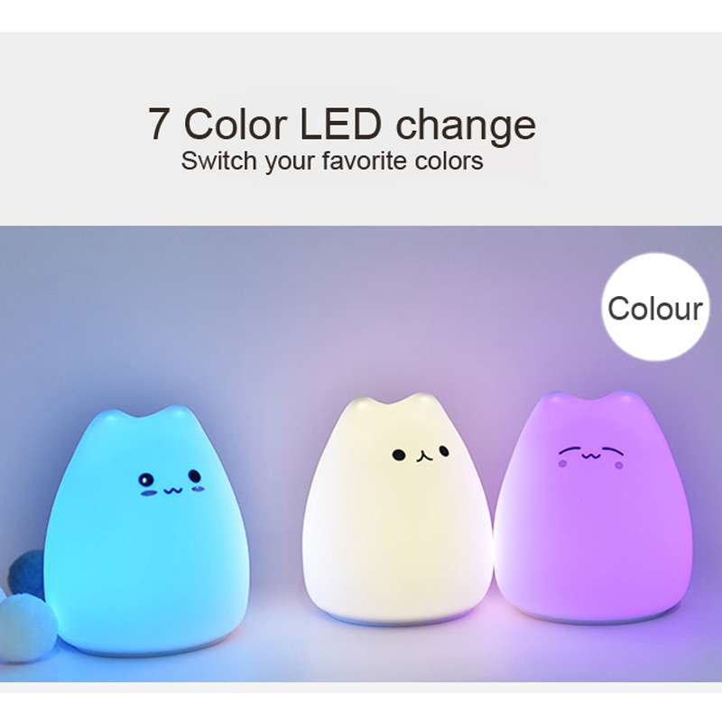 LED Night lamp decorate desk light battery dream cute cat 7 colourful holiday creative rechargable bulb for baby bedroom luminar in LED Night Lights from Lights Lighting