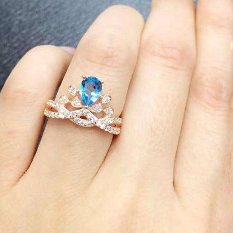 2017 Anillos Qi Xuan_Blue Pierre Fleur Bijoux Rings_Finger Rings_Rose Or Couleur De Mode Bleu Ring_Manufacturer Ventes Directement
