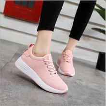 Comfortabele dames casual schoenen air mesh lente / herfst schoenen effen zwart / wit / roze vrouwelijke schoenen zapatillas mujer plus size 35-40