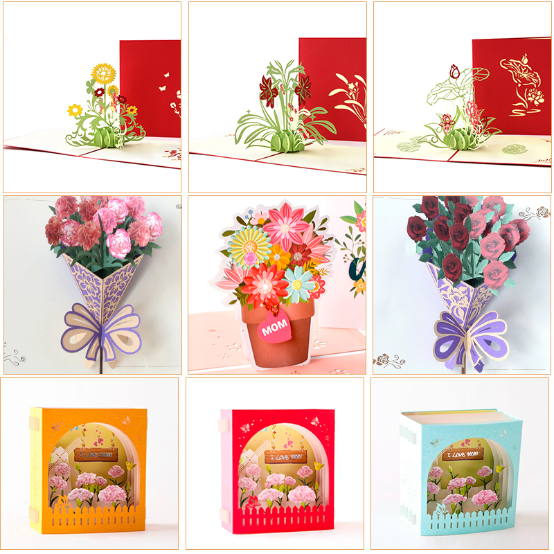 3d Mothers Day Pop Up Cards Flowers Card Anniversary Birthday