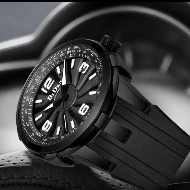 Homens da forma do Relógio Criativo Preto turbilhão Automático Big Dial Militar Sports Quartz Relógio De Pulso Dos Homens de Aço Pulseira de Silicone À Prova D Água