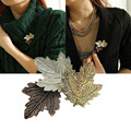 Broche Mujer Vintage Pin Maple Leaf Brooch Gold Silver Plated Brooches Pins Exquisite Collar For Women Dance Party Accessories