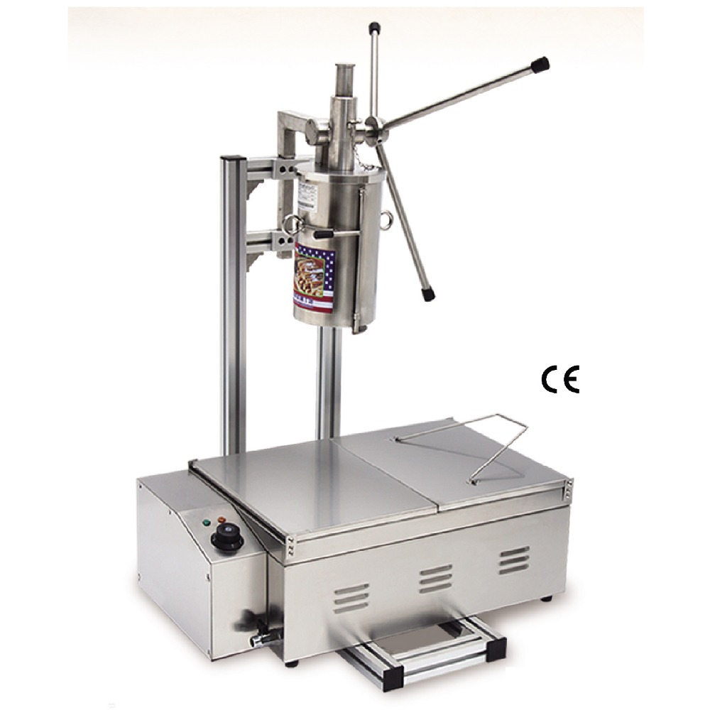 Commercial Stainless Steel Churro Machine + 25L Electric Fryer Manual Spanish Churros Maker 4 Nozzles commercial deluxe stainless steel 3l churro maker 6l electric fryer manual spanish churros making machine capacity 3l